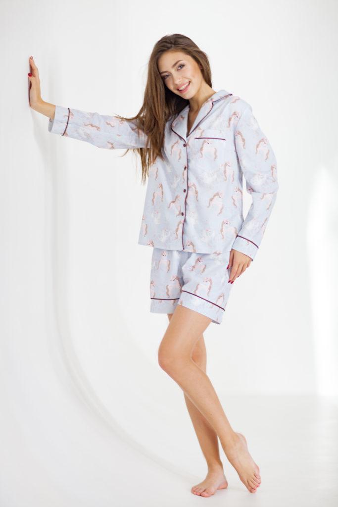 """Хлопковая пижама с принтом """" Лошадки""""."""